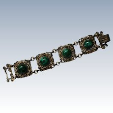 Green Plastic Marble Cabochon Bracelet