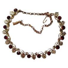 Ruby Red Rhinestone Fleur de Lis Station Necklace