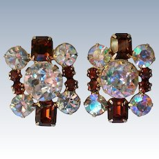 Fabulous Flashy AB and Amber Rhinestone Clip Earrings