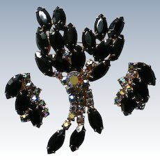 Dazzling AB and Black Rhinestone Dangle Brooch and Earrings