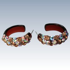 Sparkling AB Stone Semi-Hoop Plastic Earrings