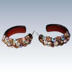 Sparkling AB Stone Semi-Hoop Plastic Earrings