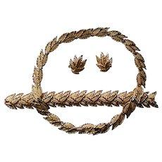 Crown Trifari Golden Leaves Necklace, Bracelet, and Earrings Set