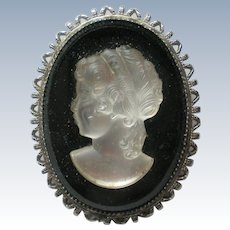 Satin Glass Cameo Brooch on Black Glass Base