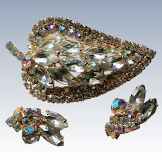 Marquis and AB Rhinestone Brooch with Clip Earrings