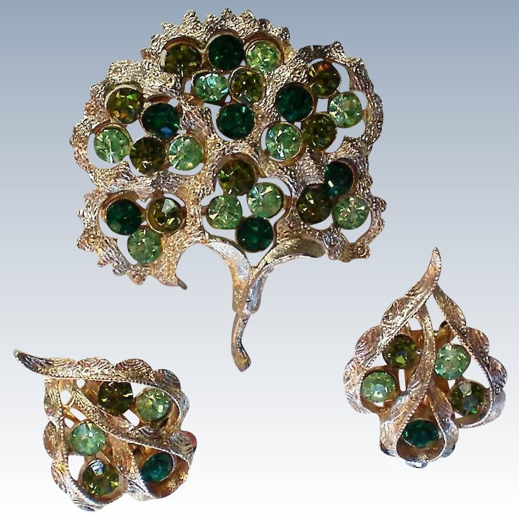Coro Brooch And Earring Set In Original Box