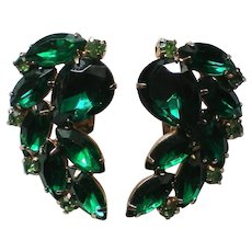 HUGE Emerald Green St. Patrick's Day Rhinestone Clip Earrings