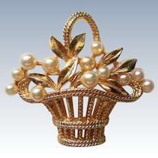 Ben Amun Basket of Flowers faux Pearl Brooch