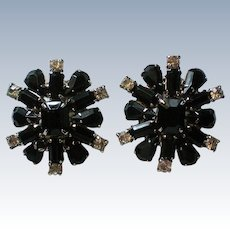 Signed WEISS Black Rhinestone Clip Earrings