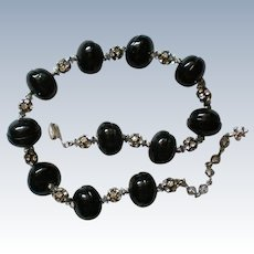 Vendome Black Bead Rhinestone Rondel Necklace