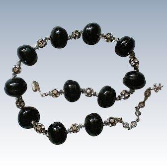 Vendome Black Bead Rhinestone Rondel Necklace