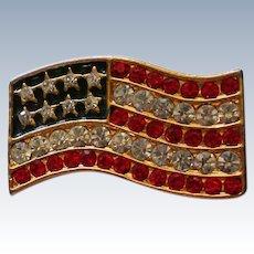 Rhinestone Studded American Flag Pin