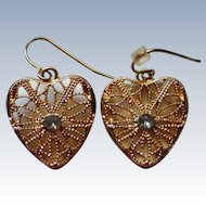 Gold tone Filigree Heart Earrings