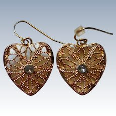 Gold tone Filigree Heart Earrings