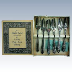Original Boxed Set Sheffield Silver Plate Pastry Forks England