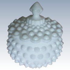Milk Glass Hobnail Covered Candy Dish