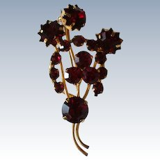 Austrian Crystal Ruby Red Brooch