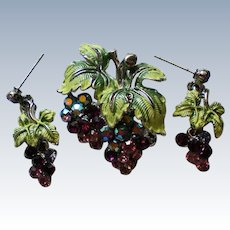 Crystal Grape Cluster Brooch / Necklace with Earrings