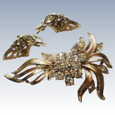 1940's Coro Floral Brooch with Clip Earrings