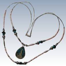 Southwestern Coyote Moon Turquoise Pendant Necklace