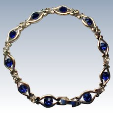 Blue Crystal Rhinestone Silver tone Bracelet