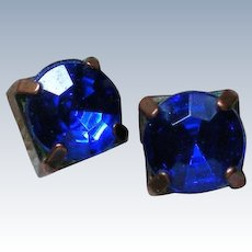Striking Royal Blue Earrings with Copper Studs
