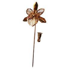 Monet Gold tone Iris Stick or Lapel Pin