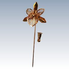 Monet Gold tone Iris Stick or Lapel Pin