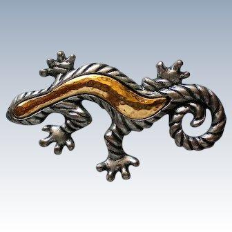 Silver and Gold Tone Gecko Lizard Pin