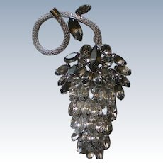 Brilliant Sparkling Marquis Cut Rhinestone Grape Cluster Brooch
