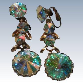 HUGE Clear Rivoli Dangle Clip Earrings