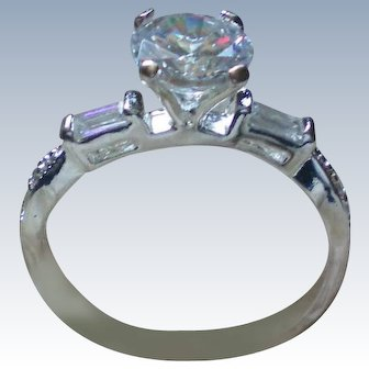 Sparkling CZ Solitaire Engagement Ring