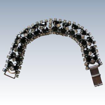 Sparkling Black and Clear Rhinestone Bracelet