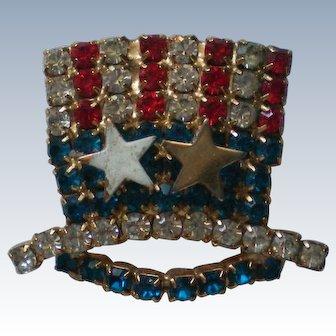 American Flag Rhinestone Hat Pin