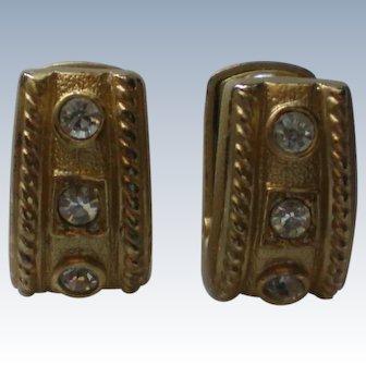 Rhinestone Studded French Clip Earrings