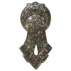 Rhinestone Studded Silver tone Metal Fur or Dress Clip