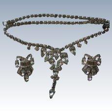 Tear Drop Clear Rhinestone Dangle Necklace with Clip Earrings Set