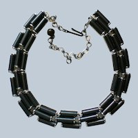Signed Charel Charcoal Lucite Art Deco Necklace