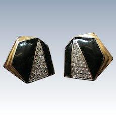 Carol Lee Black Rhinestone Clip Earrings
