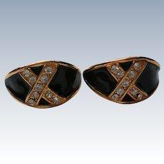 Jet Black Enameled Rhinestone Pierced Earrings