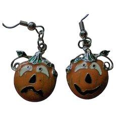 Happy and Sad Face Pumpkin Jack-O-Lantern Dangle Earrings for Halloween