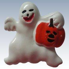Ceramic Ghost with Pumpkin Halloween Pin