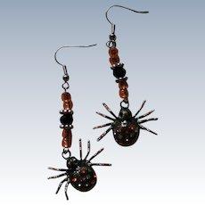 Halloween Spider Dangle Earrings