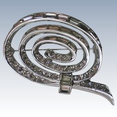 Boucher Silver tone Rhinestone Swirl Brooch