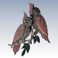 Enameled Cockatoos or Parrots Fur/Dress Clip by Boucher