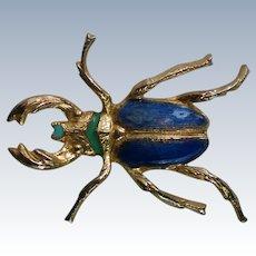 Enameled Scarab Beetle Bug Pin