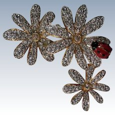 Swarovski Flower Brooch with Lady Bug