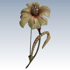 Marcel Boucher Design Enameled Flower Brooch