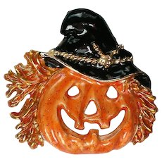 Jack-O-Lantern Pumpkin Pin with Witch Hat for Halloween