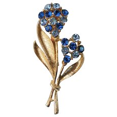 Pretty Blue Rhinestone Bouquet of Flowers Brooch